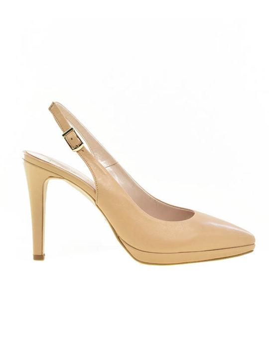 Μπεζ εξώφτερνα ψηλοτάκουνα πέδιλα Fardoulis Shoes