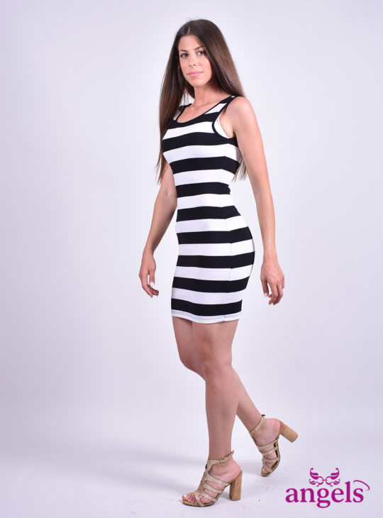 Στενό Ριγέ Φόρεμα||Φορέματα