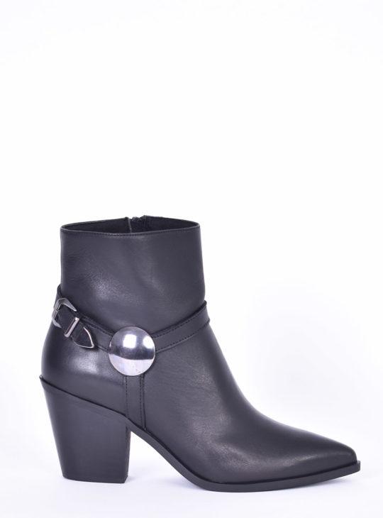 Cowboy Μαύρα δερμάτινα γυναικεία μποτάκια Fardoulis Shoes