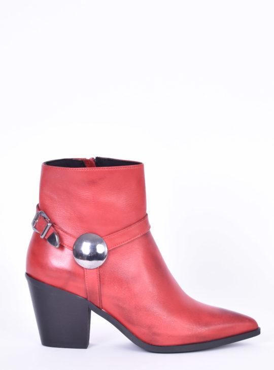 Cowboy Κόκκινα δερμάτινα γυναικεία μποτάκια Fardoulis Shoes
