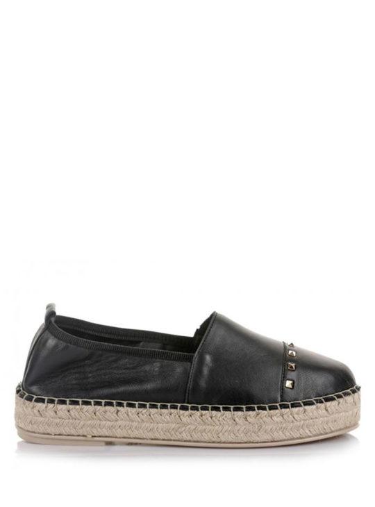 Μαύρες Δερμάτινες Εσπαντρίγιες KOMIS&KOMIS  Γυναικεία Καλοκαιρινά Παπούτσια