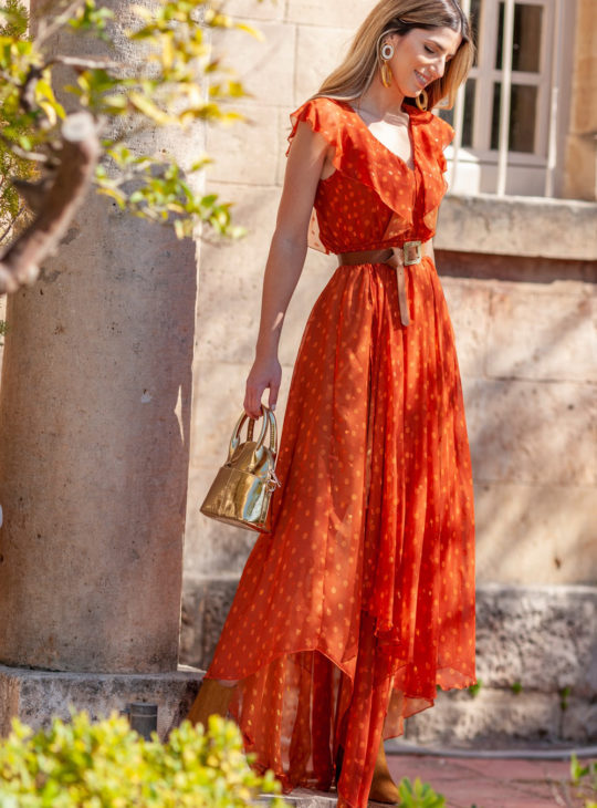 Le Vertige Φόρεμα Πορτοκαλί ασύμμετρο