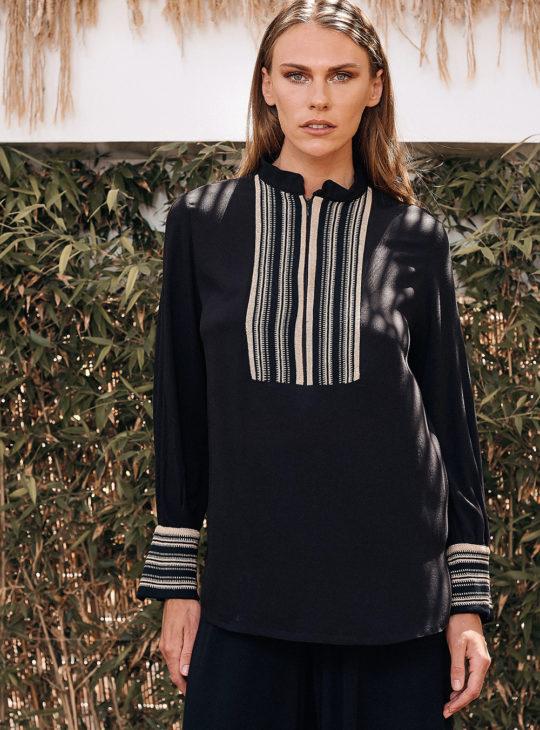 Γυναικεία Μαύρη Μπλούζα Aggel ||Γυναικεία ρούχα
