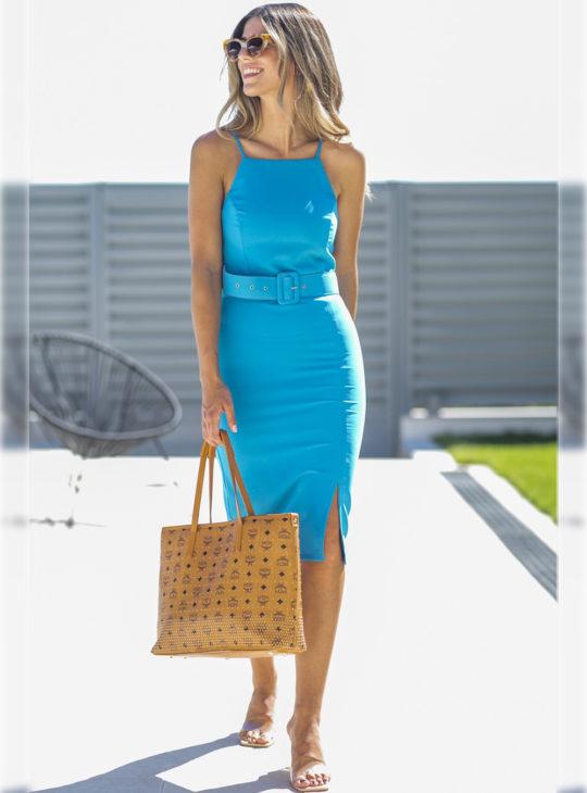Γαλάζιο Εφαρμοστό Φόρεμα Le Vertige