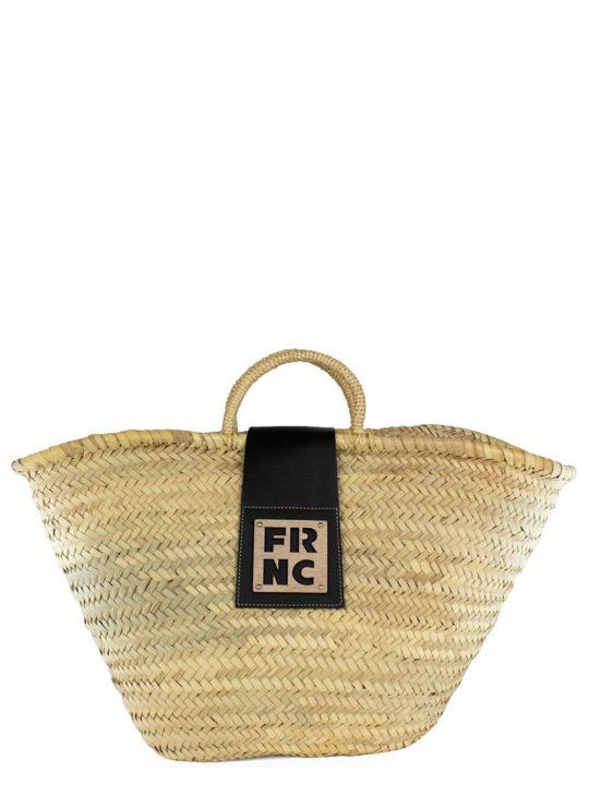 Ψάθινη τσάντα FRNC με μαύρη δερματίνη