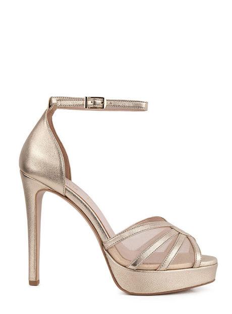 Fardoulis Shoes 3042L Άμμος||Δερμάτινα ψηλοτάκουνα πέδιλα||Γάμος-Βάπτιση