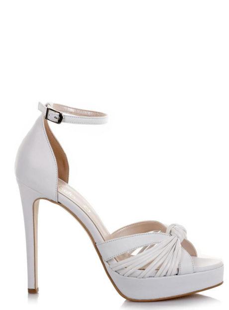 Fardoulis Shoes 3154Λ Λευκό||Δερμάτινα ψηλοτάκουνα πέδιλα||Γάμος-Βάπτιση