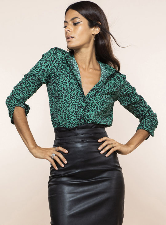 Πράσινο Πουκάμισο Λεοπάρ print Dancing Leopard||Νέες Αφίξεις 2020 Φθινόπωρο|| Γυναικεία Ρούχα