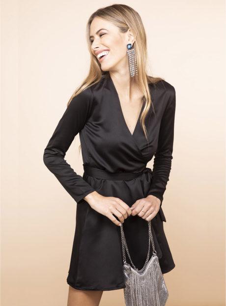 Μαύρο Μίνι Φόρεμα Κρουαζέ||Φορέματα