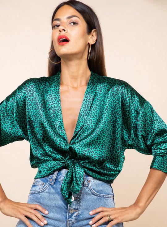 Πράσινο Σατέν Πουκάμισο Λεοπάρ print Dancing Leopard||Νέες Αφίξεις 2020 Φθινόπωρο|| Γυναικεία Ρούχα