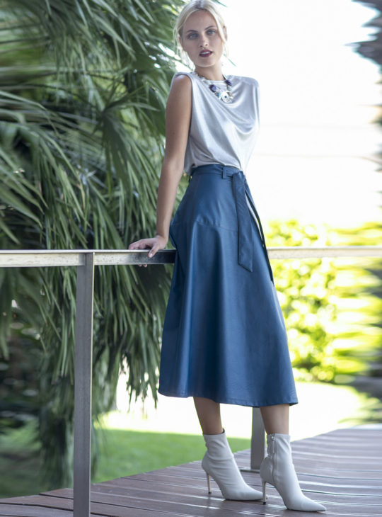 Le vertige φούστα δερμάτινη πετρολ||Φούστες||Γυναικεία ρούχα