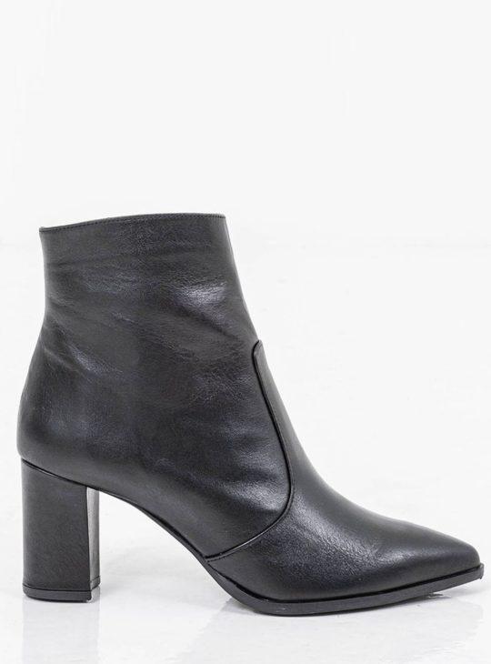 Μαύρα δερμάτινα γυναικεία μποτάκια||Γυναικεία Παπούτσια