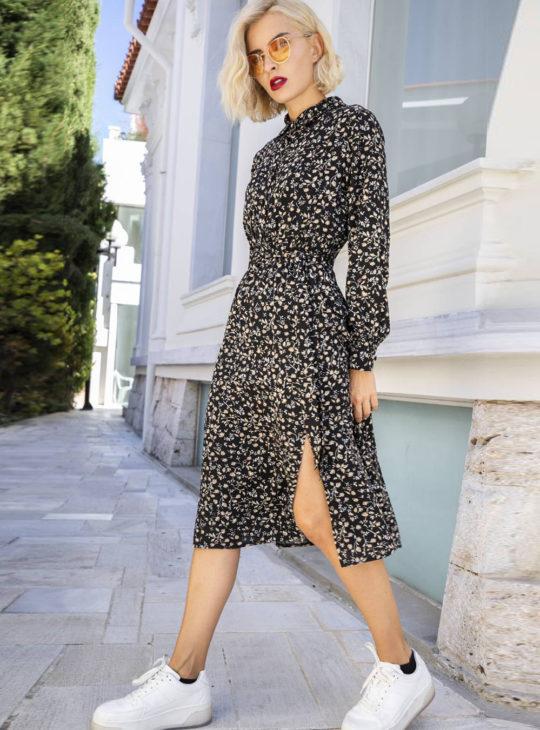 Φόρεμα κάτω από το γόνατο με πλαϊνό άνοιγμα