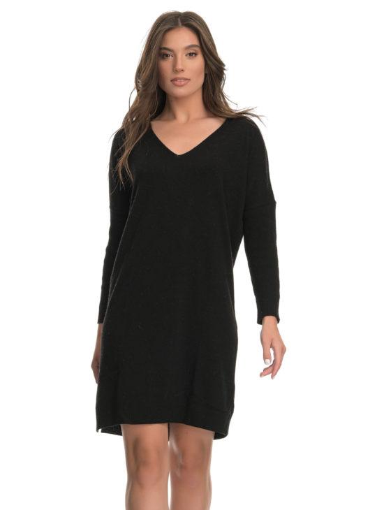 Πλεκτό Μίνι Φόρεμα Μαύρο AGGEL KNITWEAR