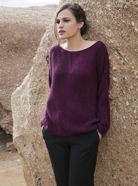 Μωβ πλέκτη μπλούζα AGGEL Knitwear