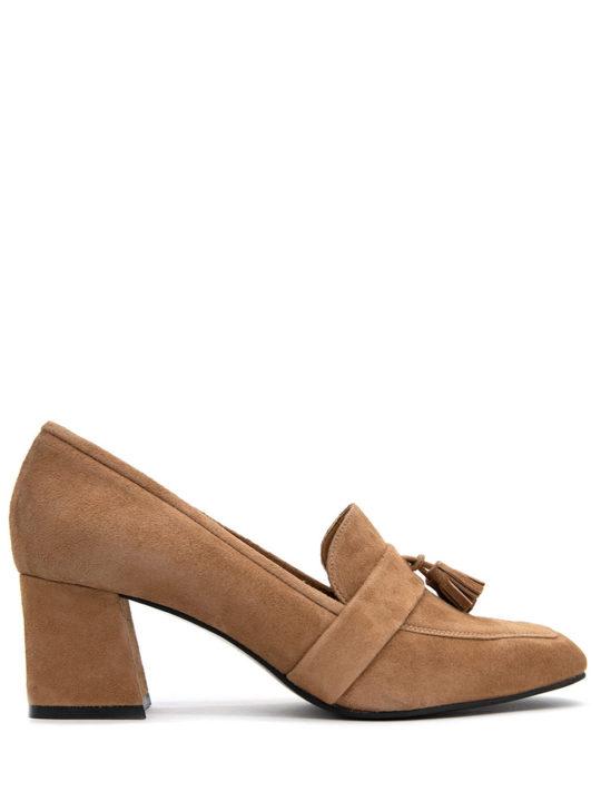 Fardoulis Shoes 2904 Καμελ Δερμάτινες χαμηλές γόβες