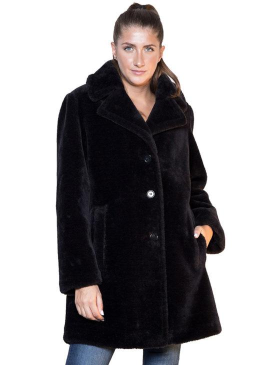 Μαύρο teddy παλτό