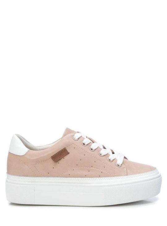 Δερμάτινα Δίπατα Sneakers Nude/Μπεζ