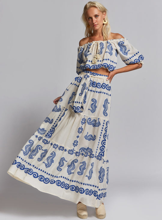 NEMA Boho Set Crop top-φούστα Με κέντημα