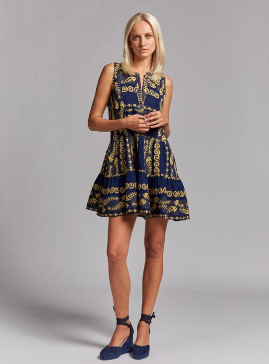 NEMA Mini Φόρεμα με κεντήματα σε μπλε χρώμα