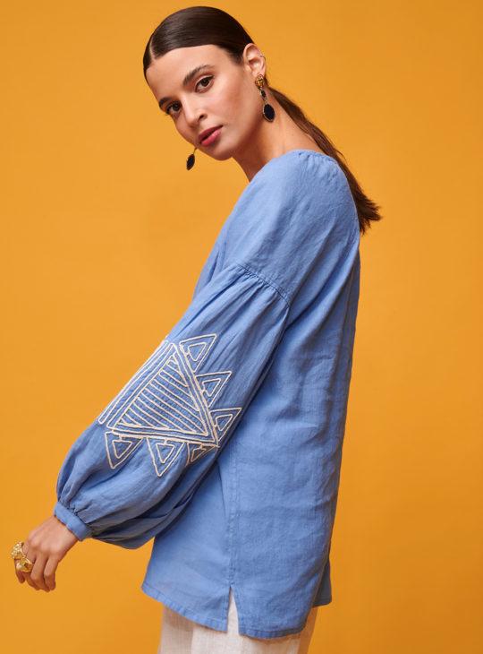 NEMA CIEL μπλούζα με κέντημα στα μανίκια||Γυναικείες μπλούζες ||NEMA RESORTWEAR