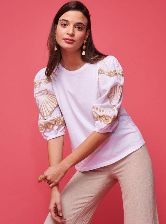 NEMA Λευκή Μπλούζα Με Χρυσά Κεντήματα ARIA