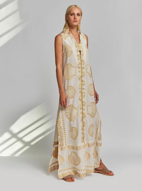 NEMA RESORTWEAR εκρού φόρεμα με χρυσά κεντήματα||Φορέματα NEMA RESORTWEAR||